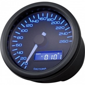 DAYTONA Digitaler Tacho, VELONA, D. 60 mm, bis 260 km/h, mit Halter blaues BACKLIGHT