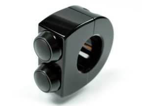 "SWITCH CONTROL for 7/8 inch (22mm) handlebars, ""m.switch"" by Motogadget, black anodized aluminium, with 3 black push buttons"