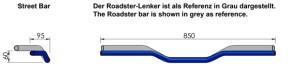 "HANDLEBAR ""street bar"" by LSL, 1 inch / 25,4 mm, black, w. material report"