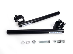 Clip on / Cafe handlebars, FEHLING 33mm for 22mm (7/8 inch) handlebars, black, KICKSTARTER-Edition