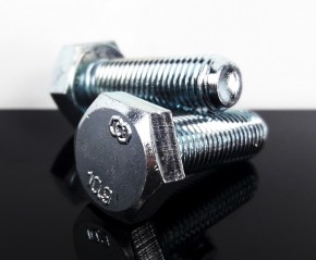 2 Scheinwerfer-BEFESTIGUNGSSCHRAUBEN, M10 x 1,25mm Feingewinde, Stahl, verzinkt