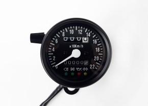 Tachometer SPEEDOMETER 60mm mit Kontrollleuchten, K=1,4 black, white illuminated