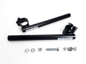 Clip on / Cafe handlebars, FEHLING 35mm for 22mm (7/8 inch) handlebars, black, KICKSTARTER-Edition