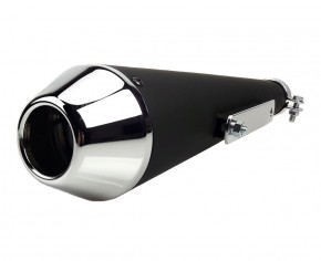 Megaphone - Exhaust in dull black, chromed cap