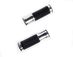 2 GRIFFE, Griffgummis CNC, schwarz / silber, f. 22mm-Lenker