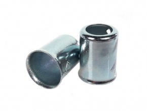 2 METAL END CAPS f. fuel tubes,  ca. 7,5mm / 12,5mm