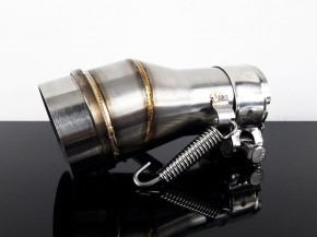 Silencer-/downpipe-ADAPTOR, 38 to 51 mm, 15° upswept, stainless steel,