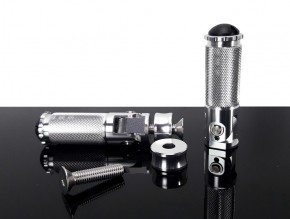 FUßRASTEN m. Federmechanismus, 2 Stück, CNC-gefrästes Aluminium, silbern eloxiert
