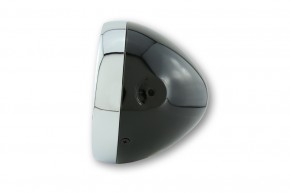 SHIN YO 6-1/2 inch clear lens main headlamp, shiny black, chrome rim