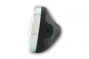 SHIN YO LTD-Scheinwerfer, 7 Zoll, H4-Einsatz mit geprägtem Glas, schwarz glänzend