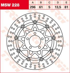 TRW Lucas Bremsscheibe MSW228, schwimmend