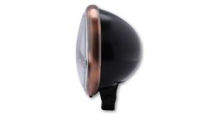 SHIN YO 5 3/4 Zoll Scheinwerfer Bates Style, schwarz seidenmatt, Ring Kupferoptik