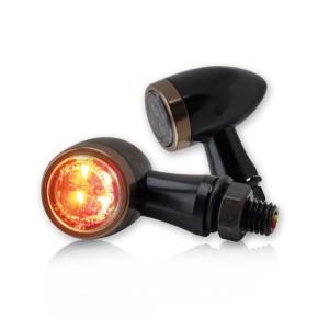 2 SMD MINI-BLINKER mit Rücklichtfunktion aus schwarzem Aluminium mit kupferfarbenem Zierring