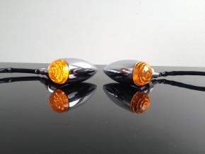 2 Mini LED-Turn Signals Bullet-Style, chrome