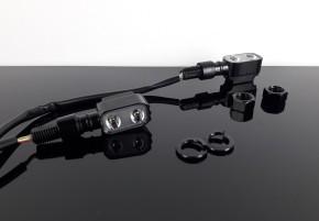 """2 mini LED-INDICATORS, incl. backlight, black, """"e""""-marked"""