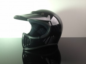 Retro-style CROSS-HELMET, BLACK, DOT approved  L