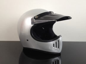 Retro-style CROSS-HELMET, SILVER, DOT approved  S