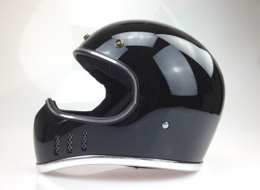 Retro-style CROSS-HELMET, gloss black, DOT approved  S