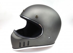 Retro-style CROSS-HELMET, DARK SILVER DENIM, DOT approved  XL