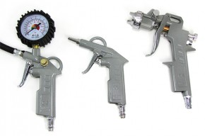 5-pieces airtool set with blowgun, tire inflator, paint gun and 5m-hose