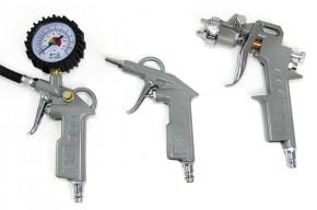 5-teiliges Kompressor-Druckluft-Set mit Ausblaspistole, Reifenfüller, Lackierpistole und 5m-Schlauch