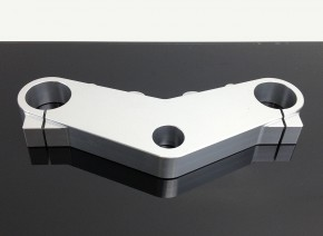 Aluminium Upper Fork Clamp, CNC-milled, silver anodized aluminium, incl. bolts (Without Vehicle Type Approval)