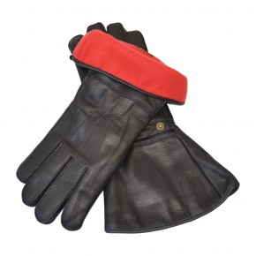 MOTOCYCLE GLOVES, leather with fleece lining, black  M