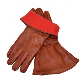 MOTOCYCLE GLOVES, leather with fleece lining, brown  M