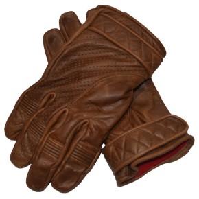 Kurze Bobber-Handschuhe aus Leder in vintage-braun mit Fleece-Futter  M