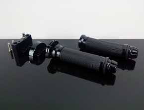"THROTTLE CONTROL / twist grip+GRIPS+bar end weights, 7/8"", black alloy"