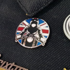 """Anstecker """"Rider"""" mit Union Jack Pin / Badge"""