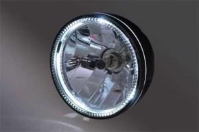 Klarglas-SCHEINWERFER, schwarz, m. LED-RING