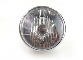 "7"" HEAD LIGHT with BRACKETS by BHCKRT, for ""Shrewd Shroud"", chrome/silver"