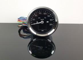 Tachometer, elektronisch, mit Kontrollleuchten, 60mm, chrom