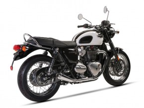 """2* SILENCER / exhaust system, f. TRIUMPH Bonneville T120, stainless steel, """"e""""-marked"""