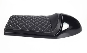 Cafe-Racer SEAT, universal, black leather, white square-stitching
