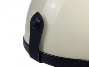 "Helmet (""Pudding bassin"") ivory/brown artificial leather  S"