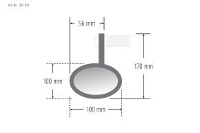 Lenkerendenspiegel, SPIEGEL, schwarz eloxiertes Aluminium, rund, e-geprüft