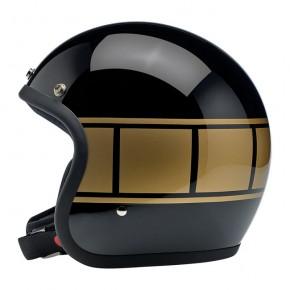 BILTWELL BONANZA Jet-Helmet gloss black with golden holeshot stripes  M