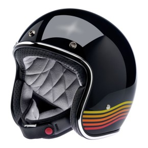 BILTWELL BONANZA Jethelm in glänzend schwarz mit Retro-Zierstreifen  M