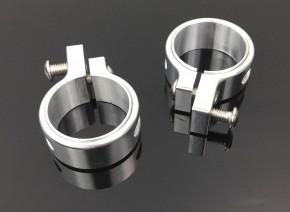 2 BLINKERHALTER Gabelklemmen Ø37/41mm Aluminium silber
