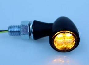2 LED-BULLET-BLINKER Zero schwarz matt, e-geprüft, Ø19,5mm