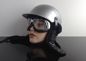 MOTORRADBRILLE f. JET-Helm, schwarz- / chromfarben