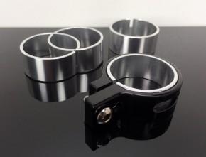2 CNC Alu-LAMPENHALTER, schwarz, 39mm