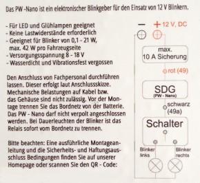 Extrem kleines, digitales BLINKRELAIS 8-18V, 0,1-42W!