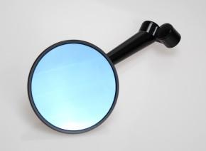 Runder SPIEGEL für die Lenkermontage, blaues Glas, Aluminium, schwarz eloxiert