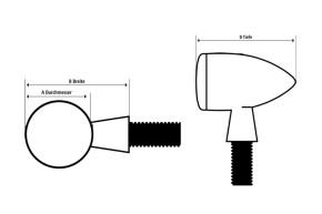 HIGHSIDER LED indicator MONO BULLET SHORT, black