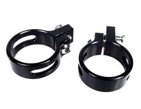 2 BLINKERHALTER, Gabelklemmen, 33 mm, Aluminium, schwarz eloxiert