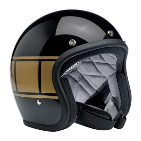 BILTWELL BONANZA Jet-Helmet gloss black with golden holeshot stripes  M