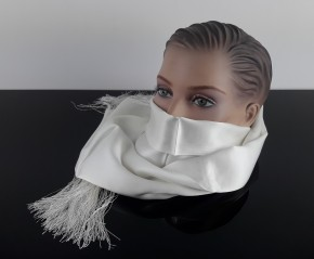 Cafe-Racer SCARF, white, pure silk, Made in GB